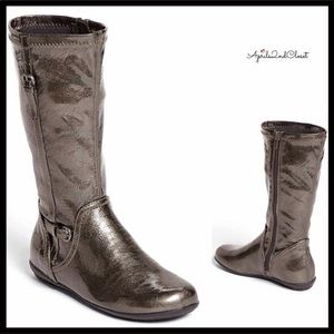 NORDSTROM PATENT METALLIC KNEE HIGH RIDING BOOTS